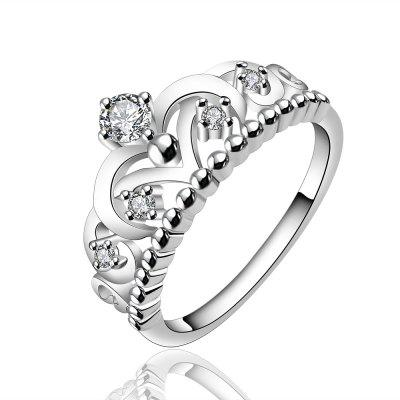 Fashion Creative Crown Hollow Out Zircon Ring Charm Jewelry
