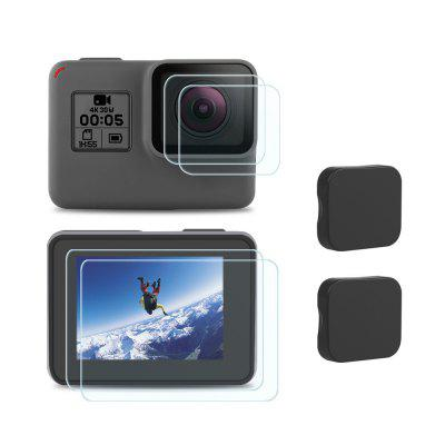 Tempered Glass Action Camera Lens Protector Protective Screen Lens Film + Lens Protective Cap Set for Gopro Hero 5 / 6