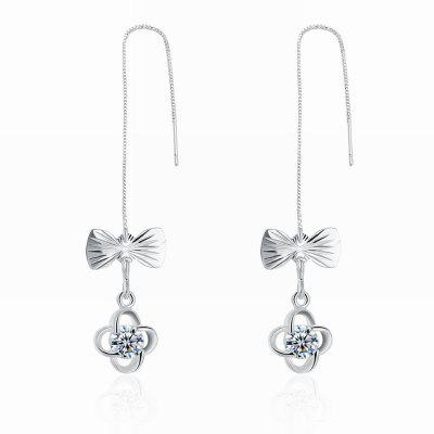 Fashion Zircon Hollowed Bowknot Long Drop Earrings Charm Jewelry