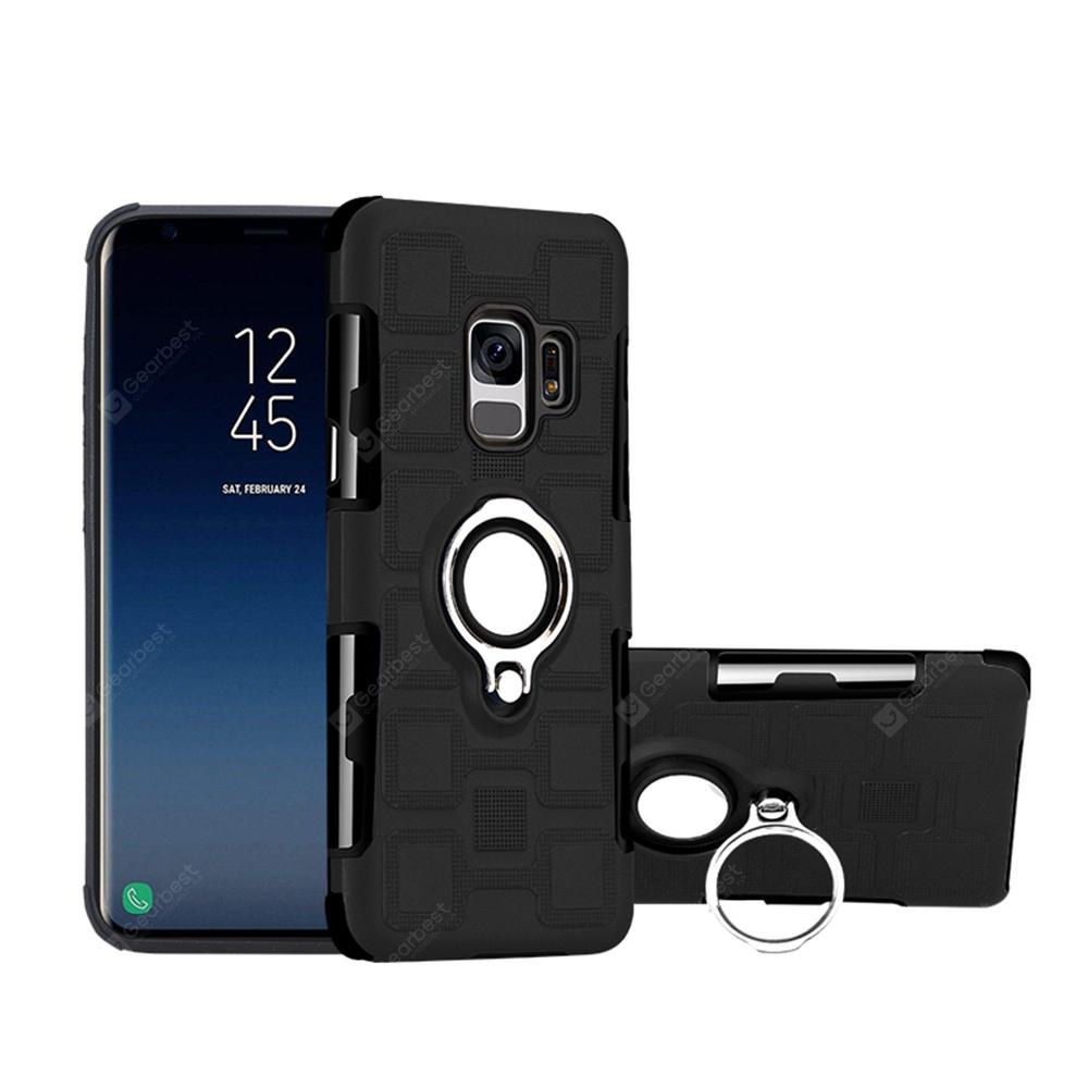 Cover Case for Samsung Galaxy S9 Car Holder Stand Magnetic Suction Finger Ring PC+TPU Armor