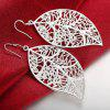 Hollow Out Tree Leaf Shape Drop Earrings Graceful Jewelry - SILVER