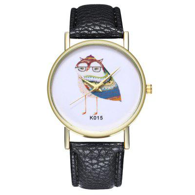 Zhou Lianfa New Fashion Litchi Pattern Cartoon Owl Figure Watch