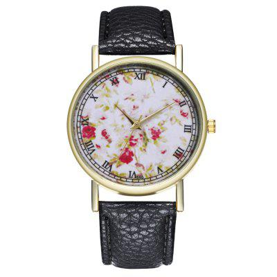 Zhou Lianfa New Fashion Trend Gold Dial Litchi Pattern White Rose Figure