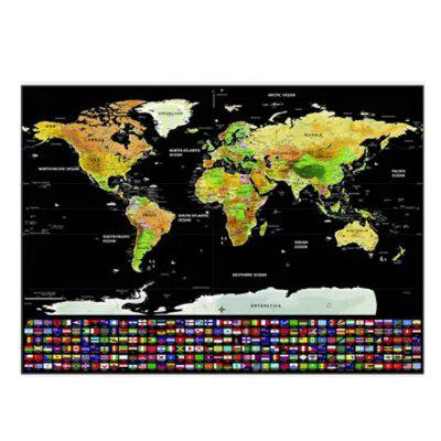 Scratch-off World Map with Boundary of US States Canada / Country Flags Toy