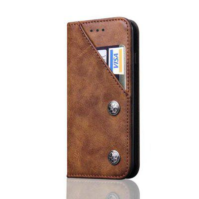 For iPhone 7 / 8 Leather Case Magnetic Closure Antique Copper Grain Wallet Pouch Cover