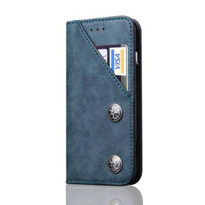 For iPhone X Leather Case Magnetic Closure Antique Copper Grain Wallet Pouch Cover