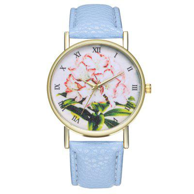 Zhou Lianfa Fashion Network Morning Glory en relieve de cuarzo de oro reloj
