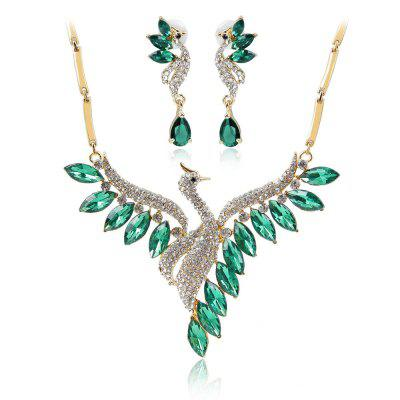 Crystal Swan Necklace and Earrings Suit