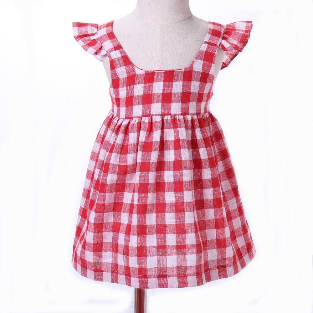 yoyoxiu CX1122 - 1 Red and White Grid Girls Dress for 1 - 4 Years old