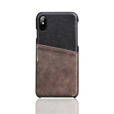 For iPhone X Back Cover Mixed Colors Geuine Leather Case