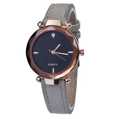 Frosted Leather Glass With Diamonds Quartz Watch