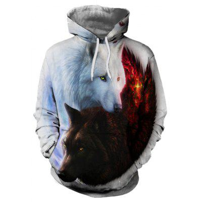 Fashion 3D Yin and Yang Wolf Print Men's Long-Sleeved Hoodie Jersey
