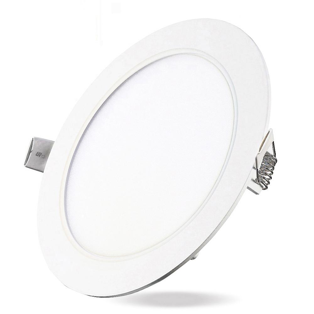 12w dimmable round flat led panel light lamp ultra thin led recessed ceiling light 5pcs. Black Bedroom Furniture Sets. Home Design Ideas