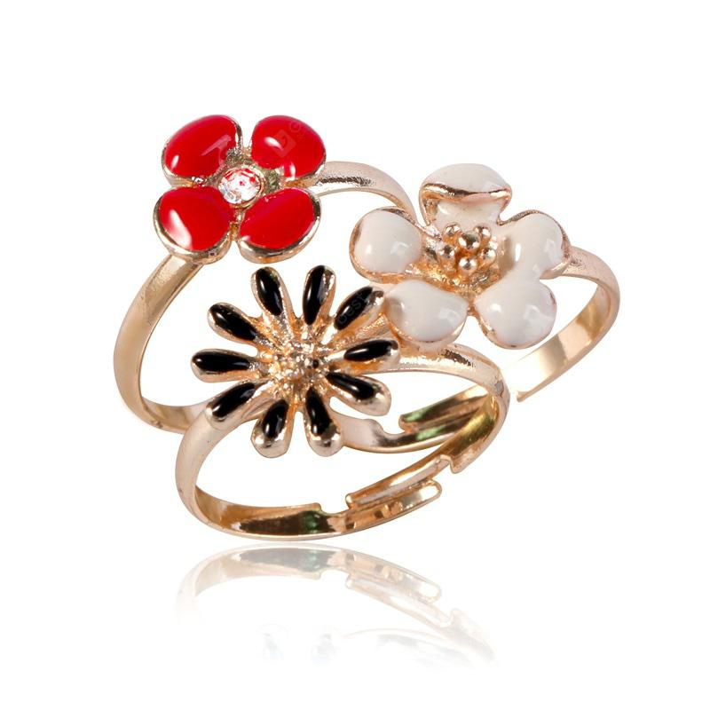 European and American Jewelry Set Can Adjust Three Pieces of Small Fresh Flower Ring