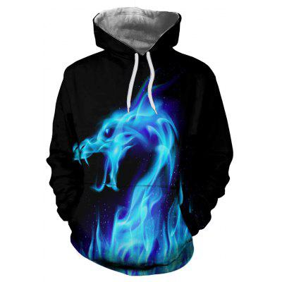 States Fashion 3D Blue Fire Dragon Printing Men's Long-Sleeved Hoodie