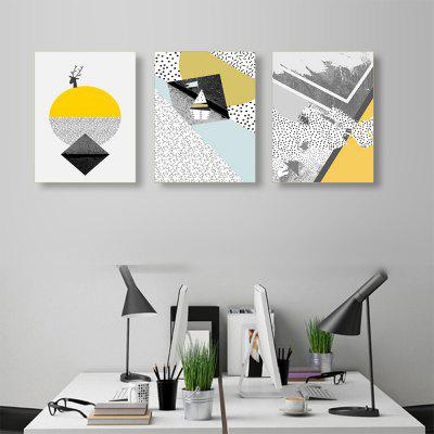 Colorful Geometric Abstract Simple Frameless Decorative Painting 3PCS (Direct Hanging) 12 * 16INCH