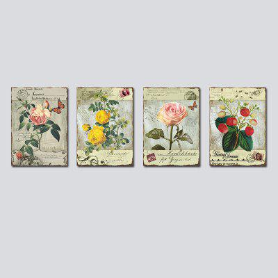 QiaoJiaHuaYuan No Frame Canvas With Garden Plants Decorated With Paintings 4Pcs