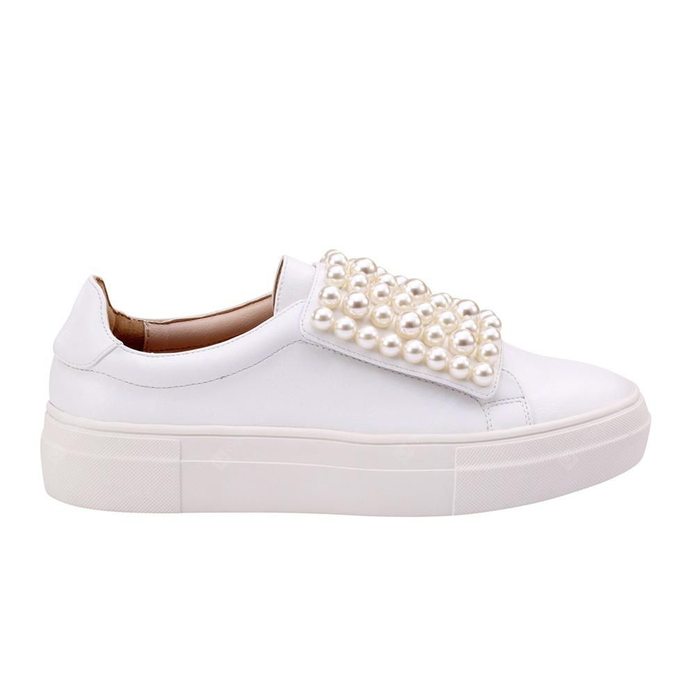 Velcro White Beads Sneaker Shoes