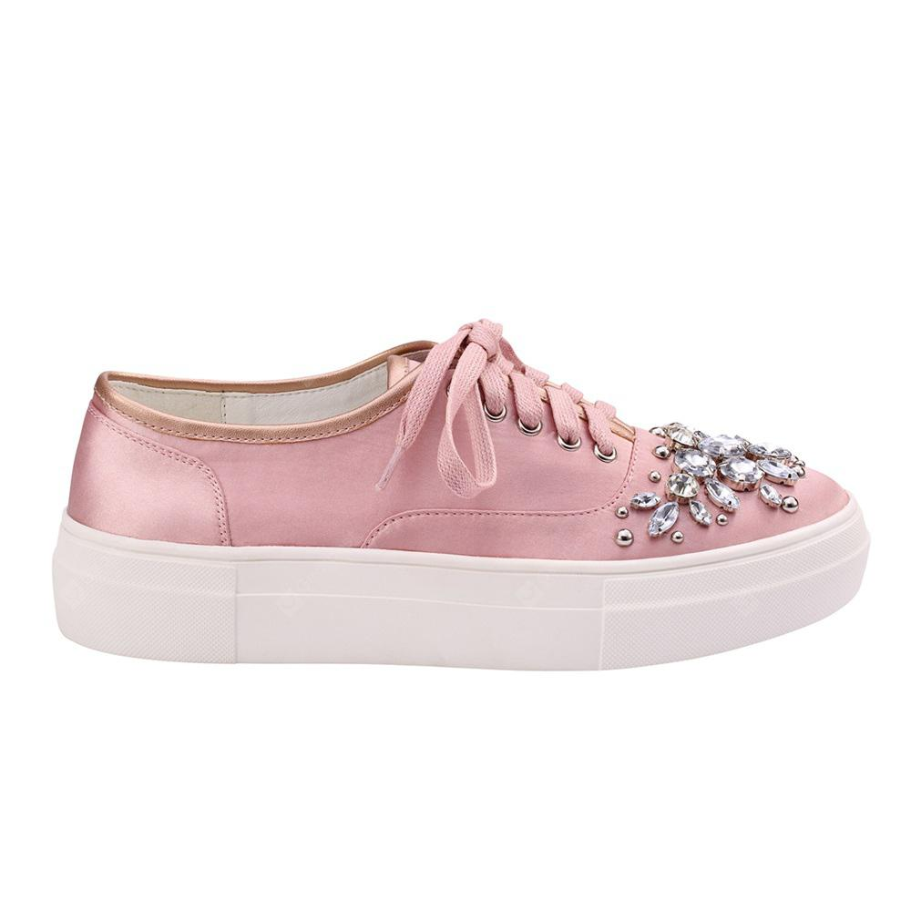 Lace Up Beads Rhinestone Sneaker Shoes