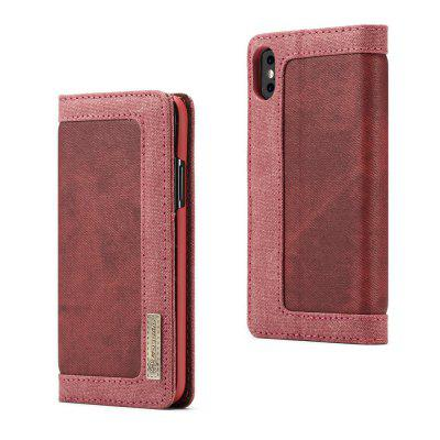 CaseMe 006 for iPhone X Leather Combination Canvas Flip Case Stand Cover with Card Slots