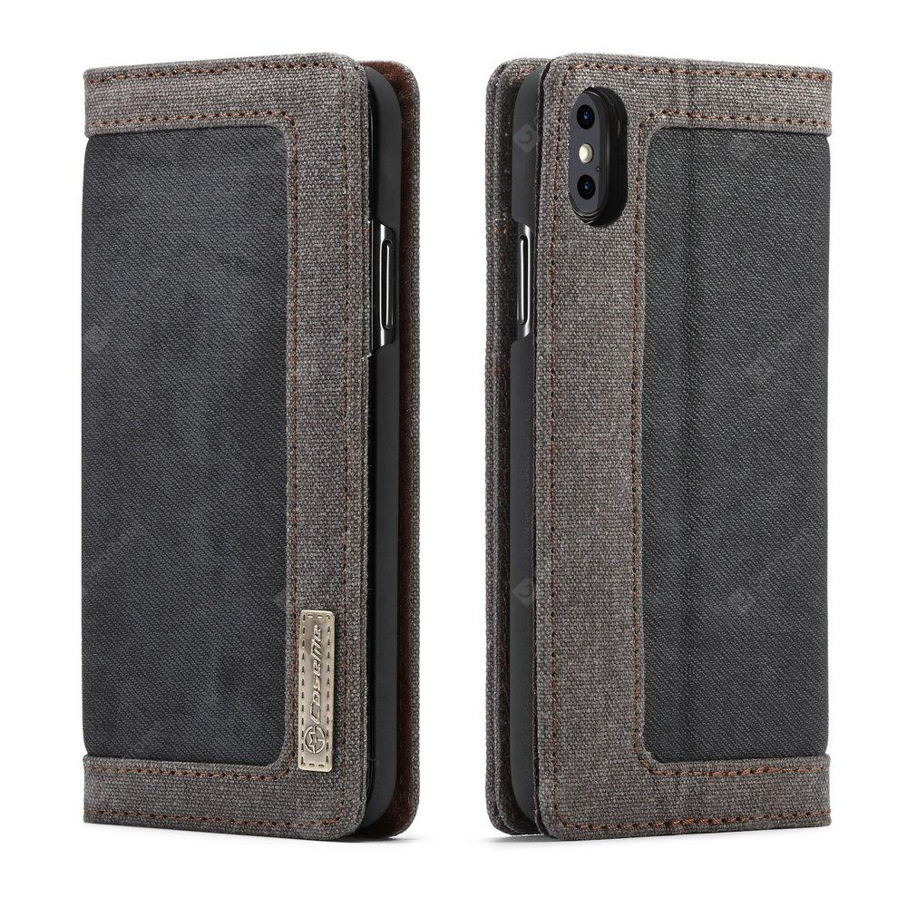 CaseMe 006 for iPhone X Leather Combination Canvas Flip Case Stand Cover with Card Slots -  Black