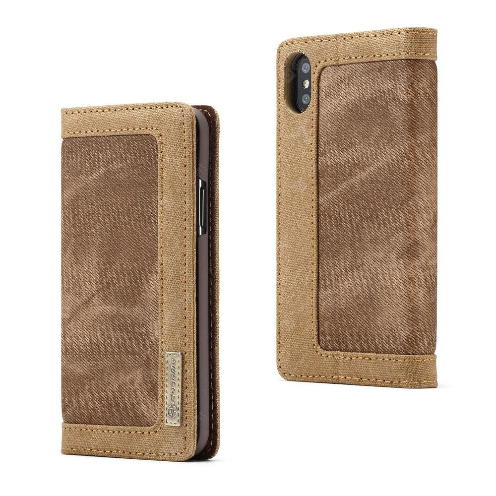 CaseMe 006 for iPhone X Leather Combination Canvas Flip Case Stand Cover with Card Slots -  Brown