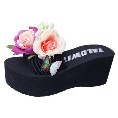 Big Flowers Thick Bottom Sand Slippers