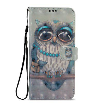 3D PU Leather Wallet Stand Case for Xiaomi Redmi 5 Plus Gray Owl Pattern
