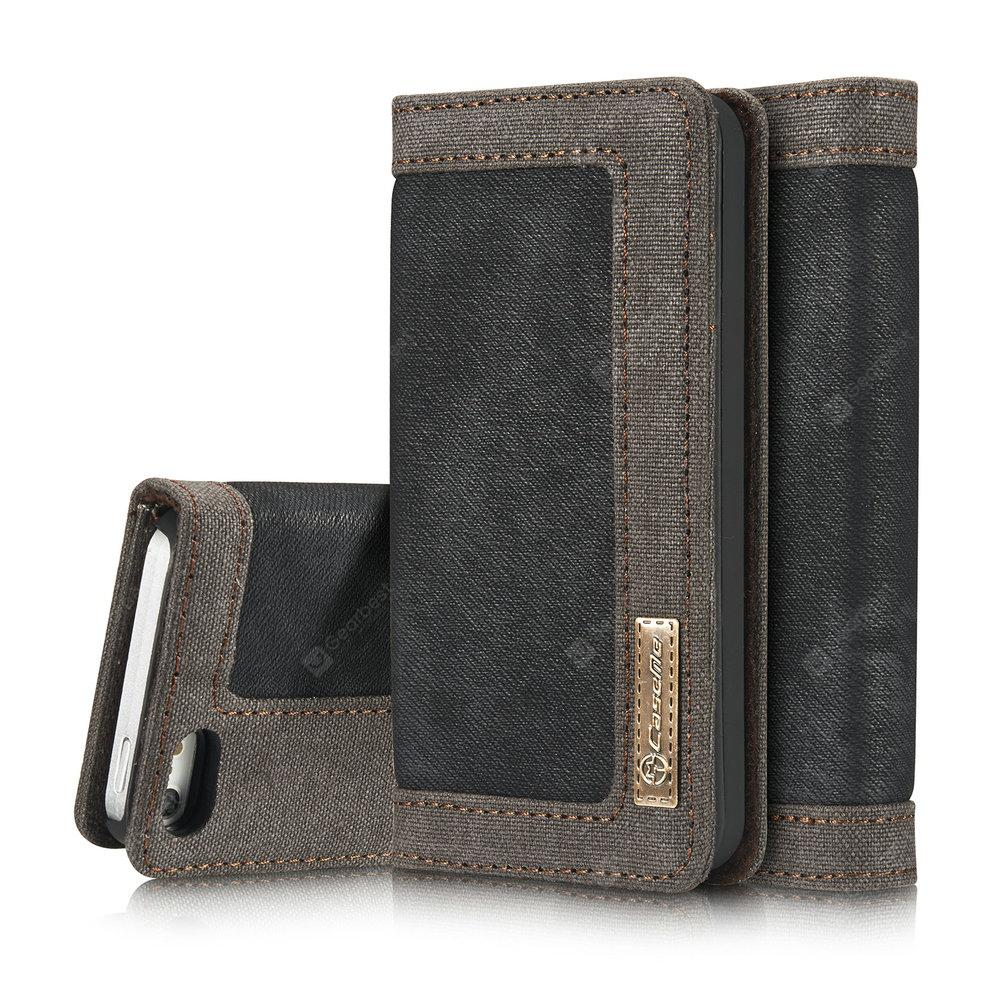 CaseMe 006 for iPhone 5/ 5S/ SE Jeans Leather Flip Wallet Stand Case with Card Cash Slot -  Black