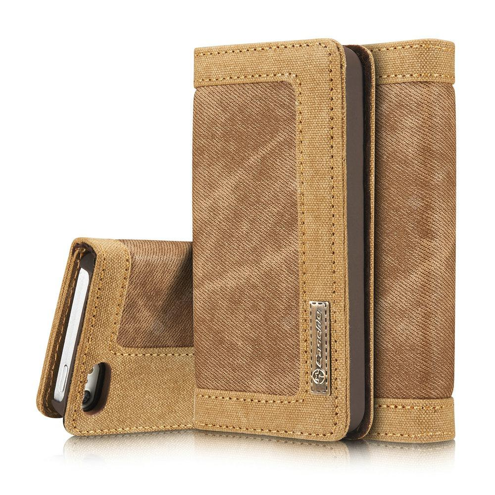 CaseMe 006 for iPhone 5/ 5S/ SE Jeans Leather Flip Wallet Stand Case with Card Cash Slot -  Brown