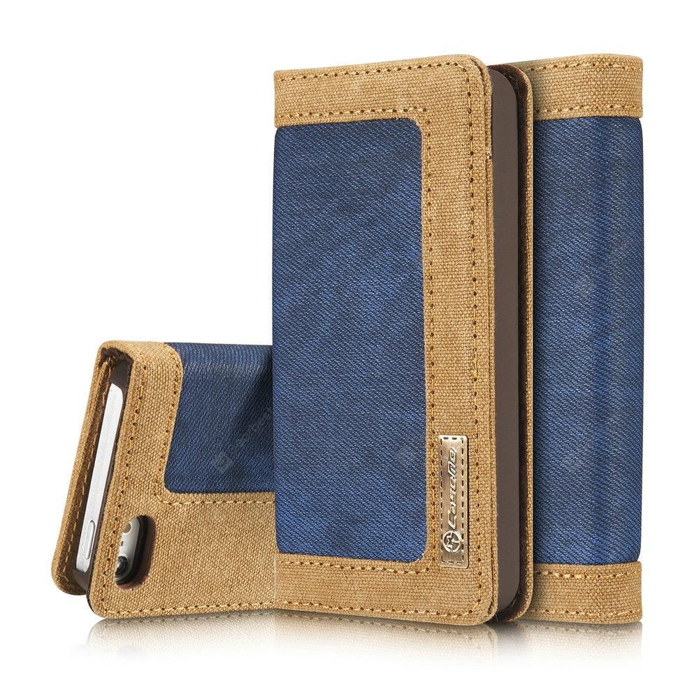 CaseMe 006 for iPhone 5/ 5S/ SE Jeans Leather Flip Wallet Stand Case with Card Cash Slot -  Blue