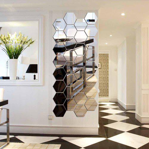 Hexagonal Mirror 3D Wall Sticker Home Furnishing Bedroom Decoration 12Pcs (Silver)