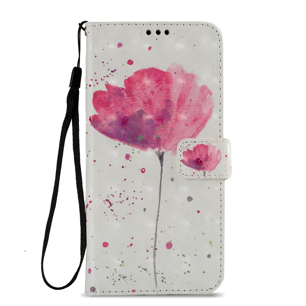 3D PU Leather Wallet Stand Case for Xiaomi Redmi 5 Plus Lotus Pattern