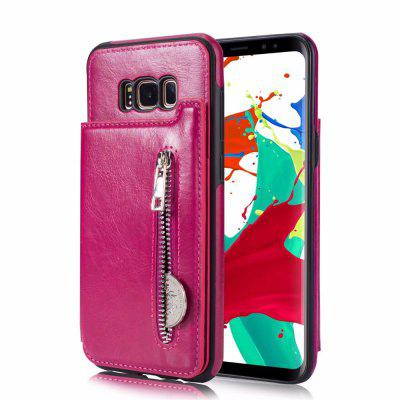 For Samsung Galaxy S8 Wallet Case Flip Folio Zipper With Slim Protective PU Leather Case 3 Slot Card Holder