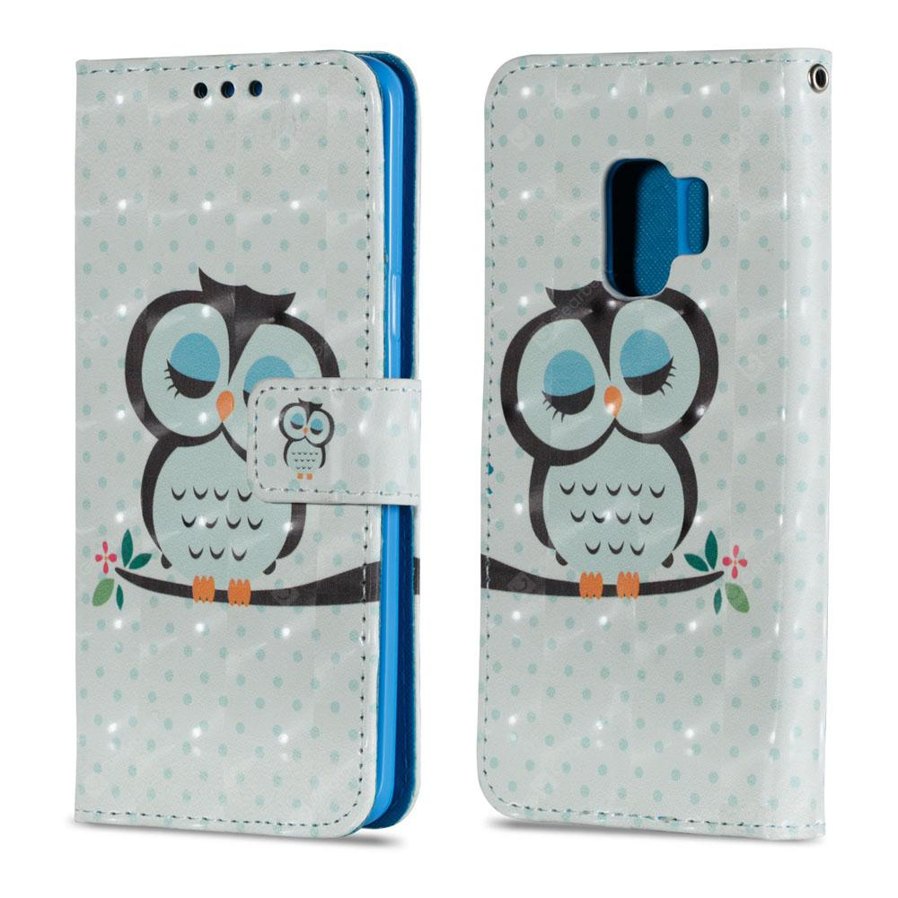 3D PU Leather Wallet Stand Case for Samsung Galaxy S9 Owl Sleeping Pattern