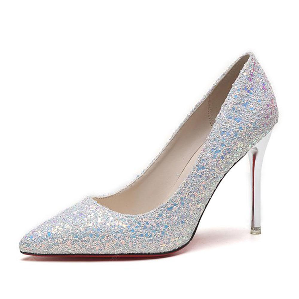 Spring and Summer New Pointed Classic Sequins High Heels