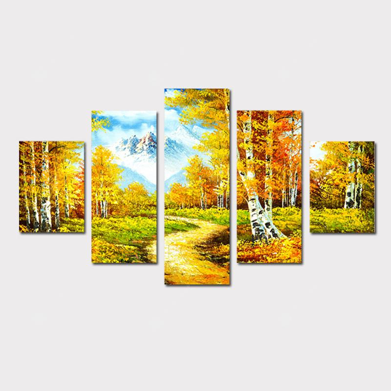 QiaoJiaHuaYuan No Frame Canvas Living Room Sofa Background Scenery 5Pcs