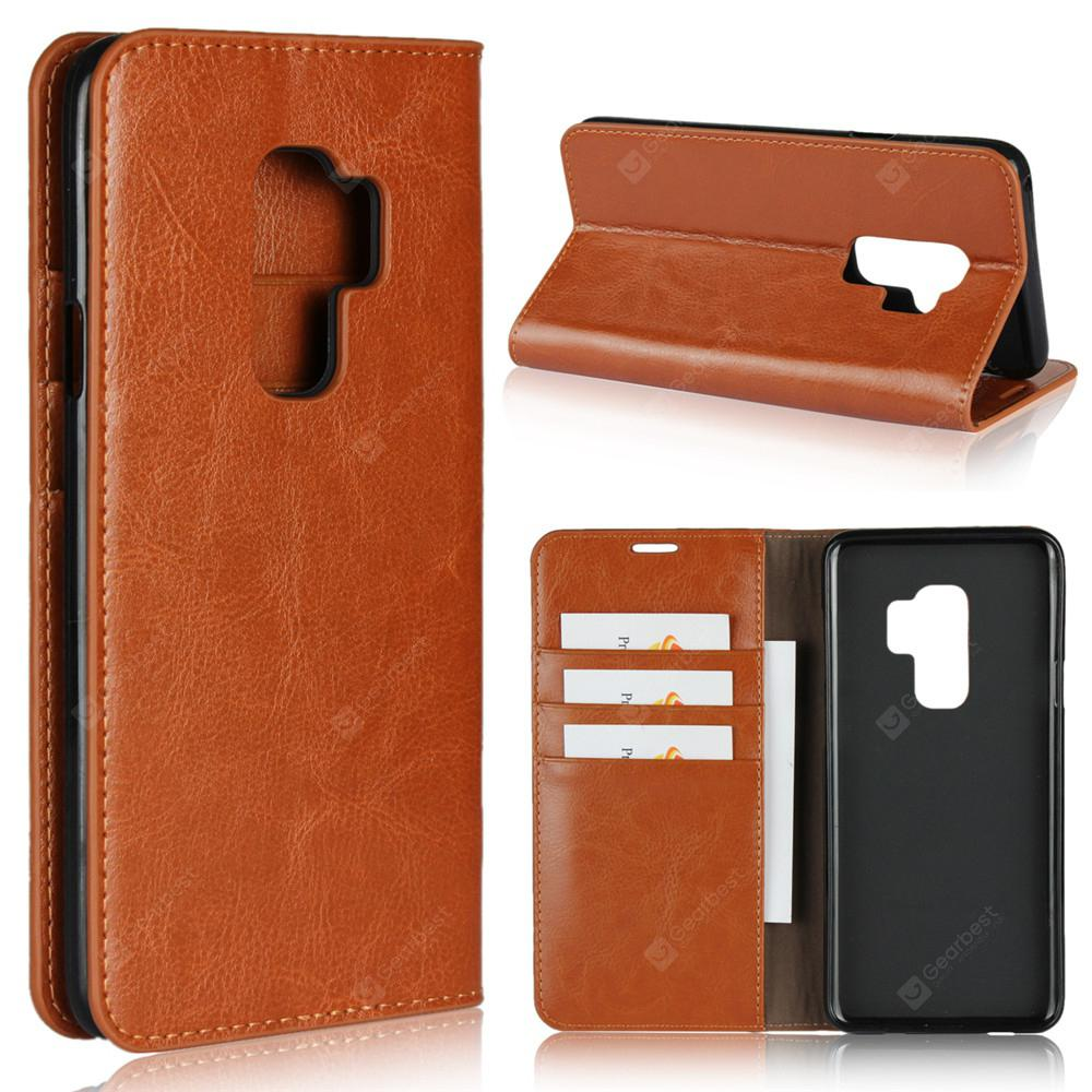 For Samsung Galaxy S9 Plus Case Full Grain Genuine Leather With Kickstand Function Card Slots and Magnetic Handmade Flip