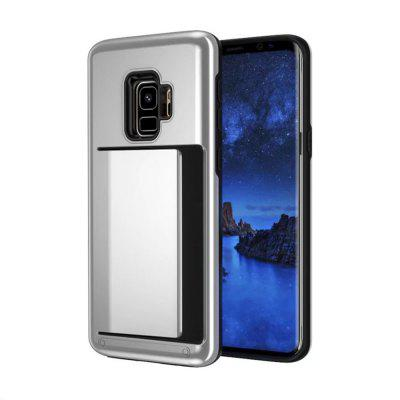 Cover Case for Samsung Galaxy S9 Plus Card Holder ID Slot Sliding Hidden Pocket Dual Layer Bumper Protective Hard Shell