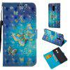 3D PU Leather Wallet Stand Case for Xiaomi Redmi 5 Golden Butterfly Pattern - BLUE