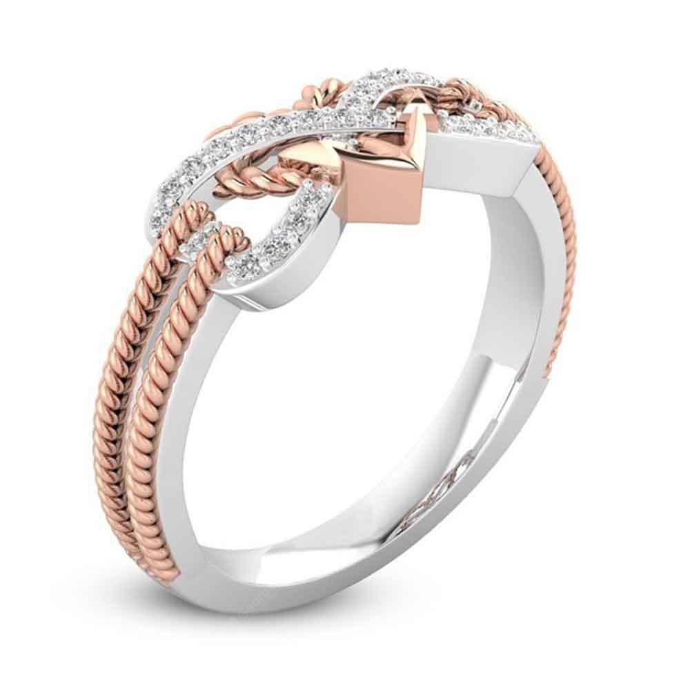 High-End Fashion Pattern Electroplating Zircon Heart Ring