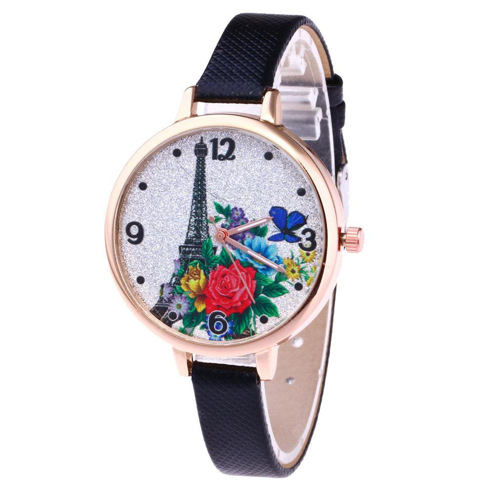 Tower Flower Butterfly Lady Leather Strap Watch