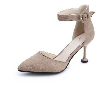 Spring New Pointed High Heel Suede Hollow Shoes