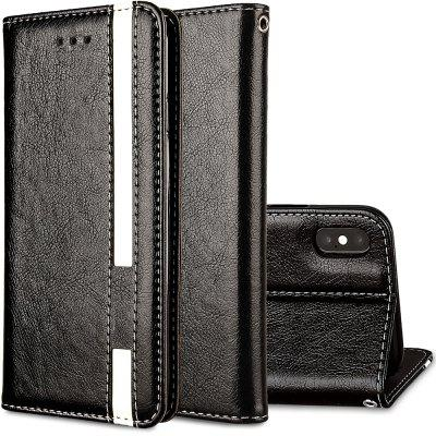 For iPhone X Business Leather Case Magnetic Closure Wallet Stand Cover white doormoon for iphone 5c wallet genuine leather cover with stand
