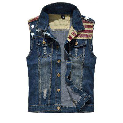Men's Denim  Fashion Style Cool Flage Patchwork Hole Design Washed Vest