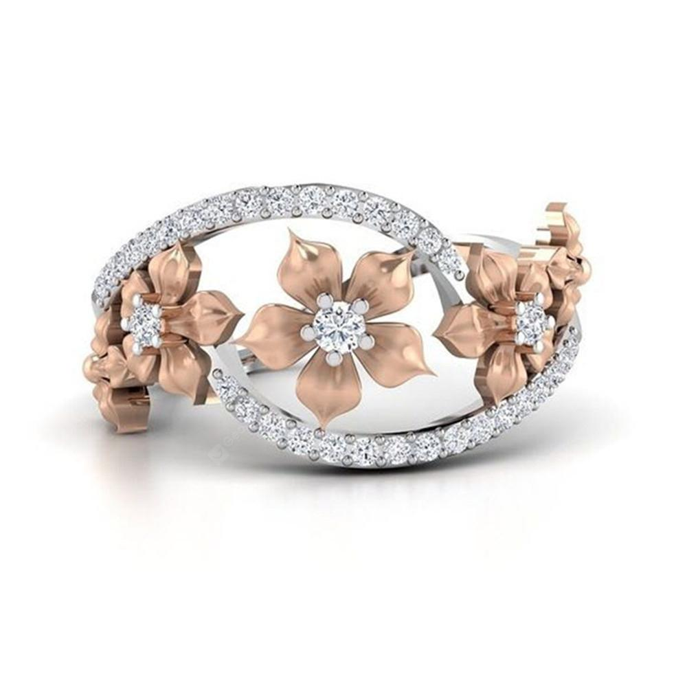 Rose Gold Flower with Diamond Ring