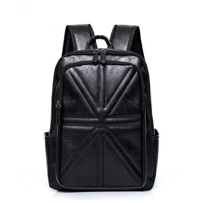 New Men'S Backpack PU High Quality 15.6 Inch Laptop Bag for Men Color Stitching Casual Rope Male Boy