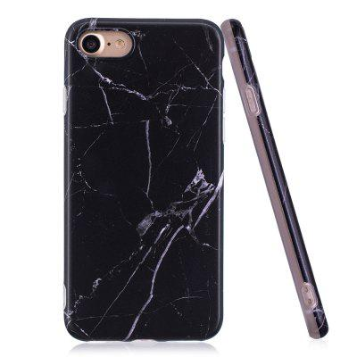 Luxury Marble Stone Pattern Slim Fit Soft Tpu Mobile Phone Case Cover Coque for iPhone 7 - Black twill pattern hybrid pc tpu phone cover for iphone 7 plus grey