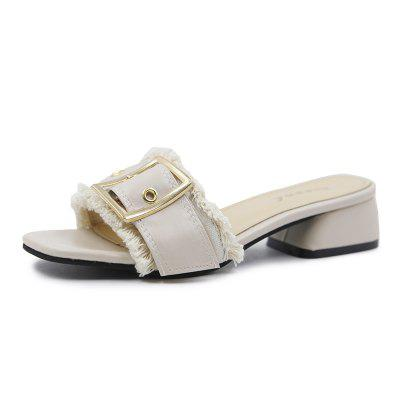 All-match Coarse Toe Buckle A Cool Slippers