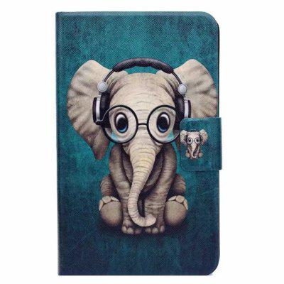 Case for Samsung Galaxy Tab 3 Lite T110 Card Holder with Stand Flip Pattern Full Body Elephant Hard PU Leather